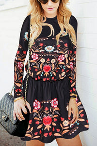 Casual Retro Fashion Slim Embroidery Long Sleeve Skater Dress Black s