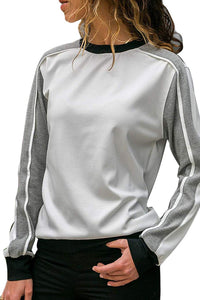 Loose Long Sleeved Button Down Shirt And Matching Color Pullover White l
