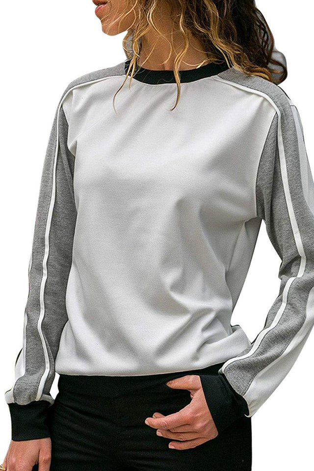Loose Long Sleeved Button Down Shirt And Matching Color Pullover Gray s
