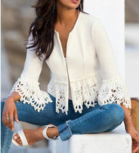 Pure Color Long Sleeve Jacket With Lace Cutout And Burn