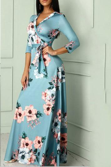 Sexy V Collar Floral Printed Belt Maxi Dress Blue s