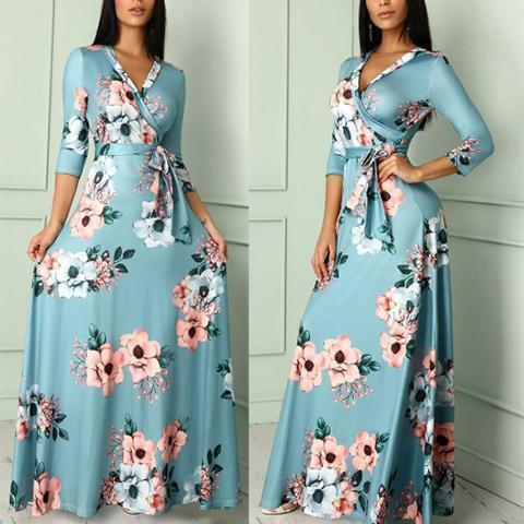 Sexy V Collar Floral Printed Belt Maxi Dress Blue m