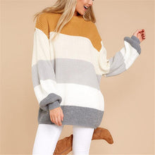 Color Block Stitching Long And Loose Knitted Sweater