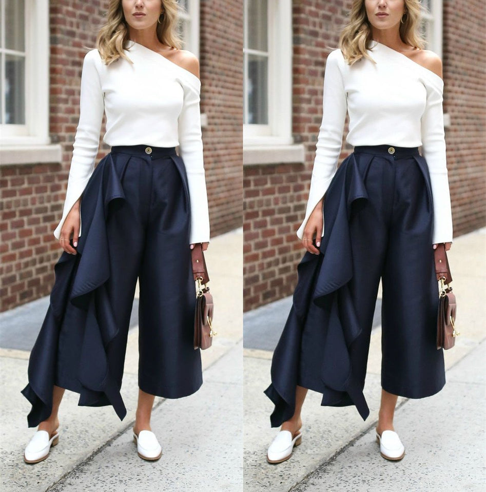 Fashion Solid Color   Loose Broad Leg Trousers Dark Blue m