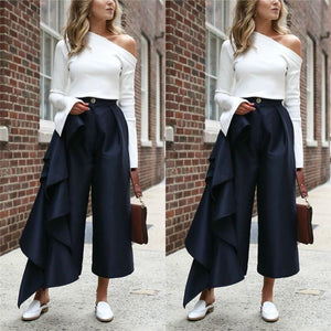 Fashion Solid Color   Loose Broad Leg Trousers Dark Blue l