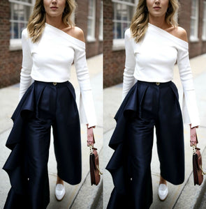 Fashion Solid Color   Loose Broad Leg Trousers Dark Blue xl