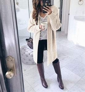 Pure Color Fashion   Loose Slit Knit Cardigans Pink xl