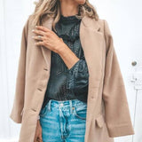 Fashion Plain Lapel Single Breasted Woolen Coat Same As Photo m
