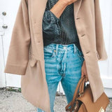 Fashion Plain Lapel Single Breasted Woolen Coat Same As Photo l