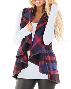 Tartan Plaid With   Lapel And Sleeveless Cloak Khaki s