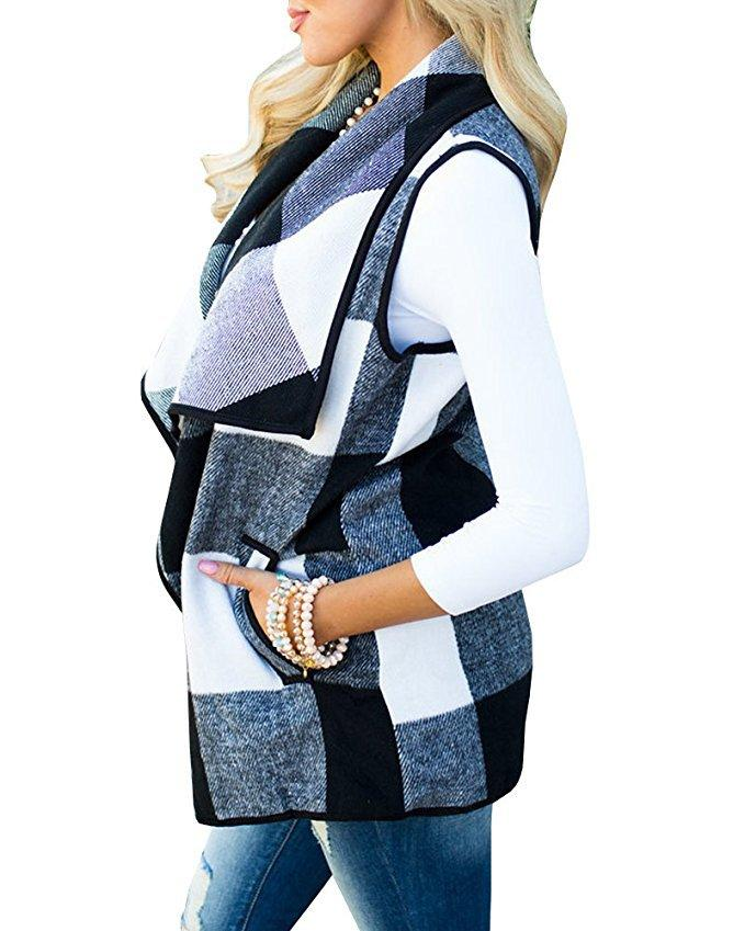 Tartan Plaid With   Lapel And Sleeveless Cloak White s