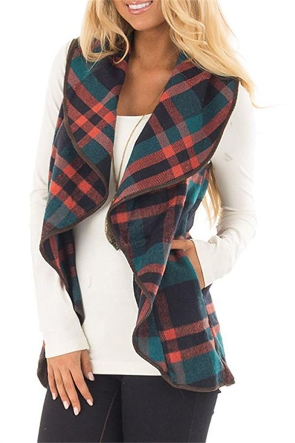 Tartan Plaid With   Lapel And Sleeveless Cloak Green s