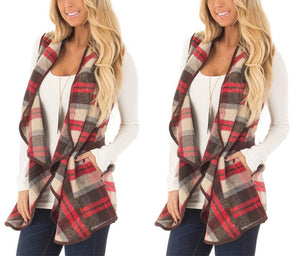 Tartan Plaid With   Lapel And Sleeveless Cloak Blue xl