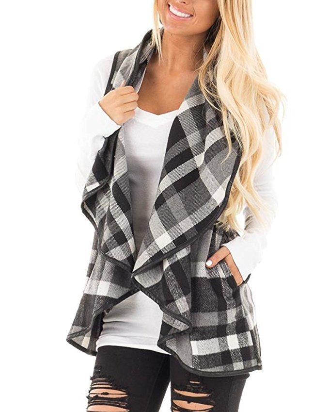 Tartan Plaid With   Lapel And Sleeveless Cloak Khaki 2xl