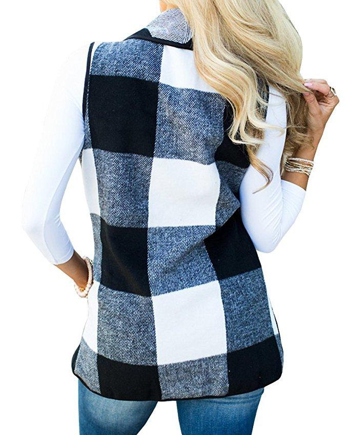 Tartan Plaid With   Lapel And Sleeveless Cloak White m