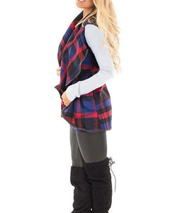 Tartan Plaid With   Lapel And Sleeveless Cloak Khaki l
