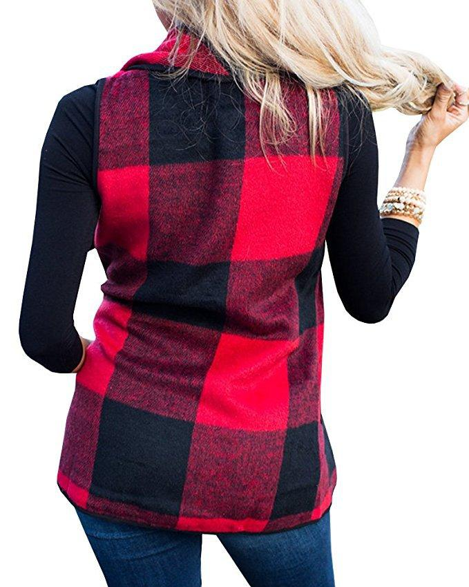 Tartan Plaid With   Lapel And Sleeveless Cloak Black s