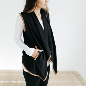 Pure Color Cardigan   Jacket In A Sleeveless Woolen Vest Black m