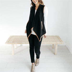 Pure Color Cardigan   Jacket In A Sleeveless Woolen Vest Black xl