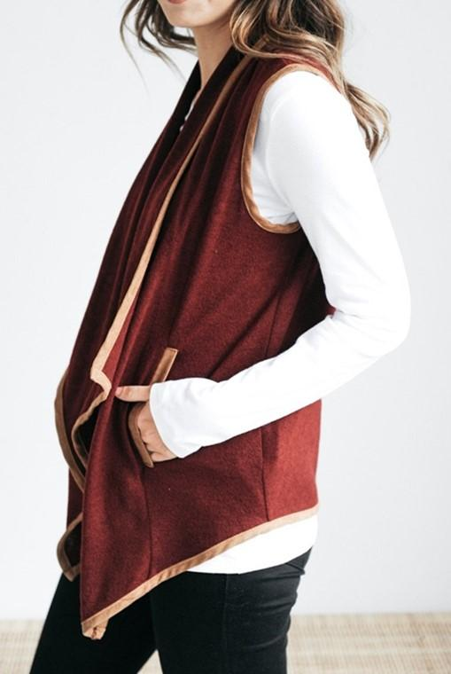 Pure Color Cardigan   Jacket In A Sleeveless Woolen Vest Claret l