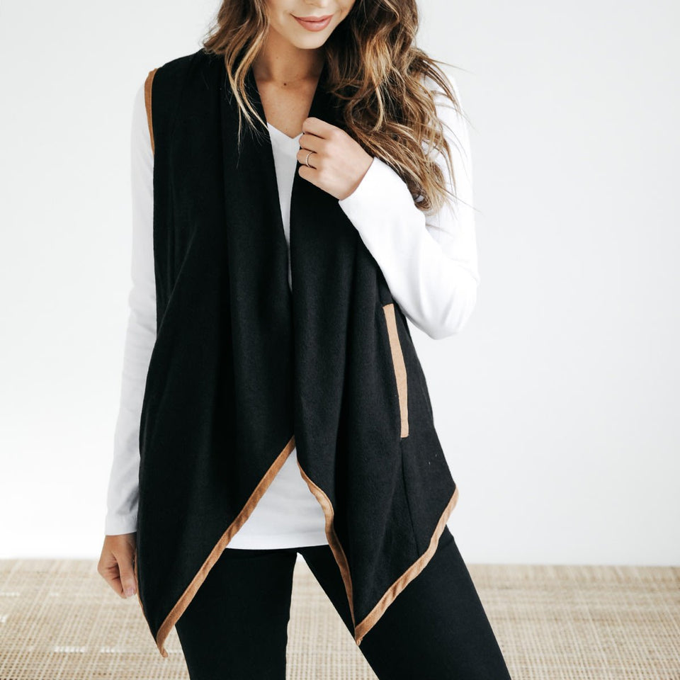 Pure Color Cardigan   Jacket In A Sleeveless Woolen Vest Black l