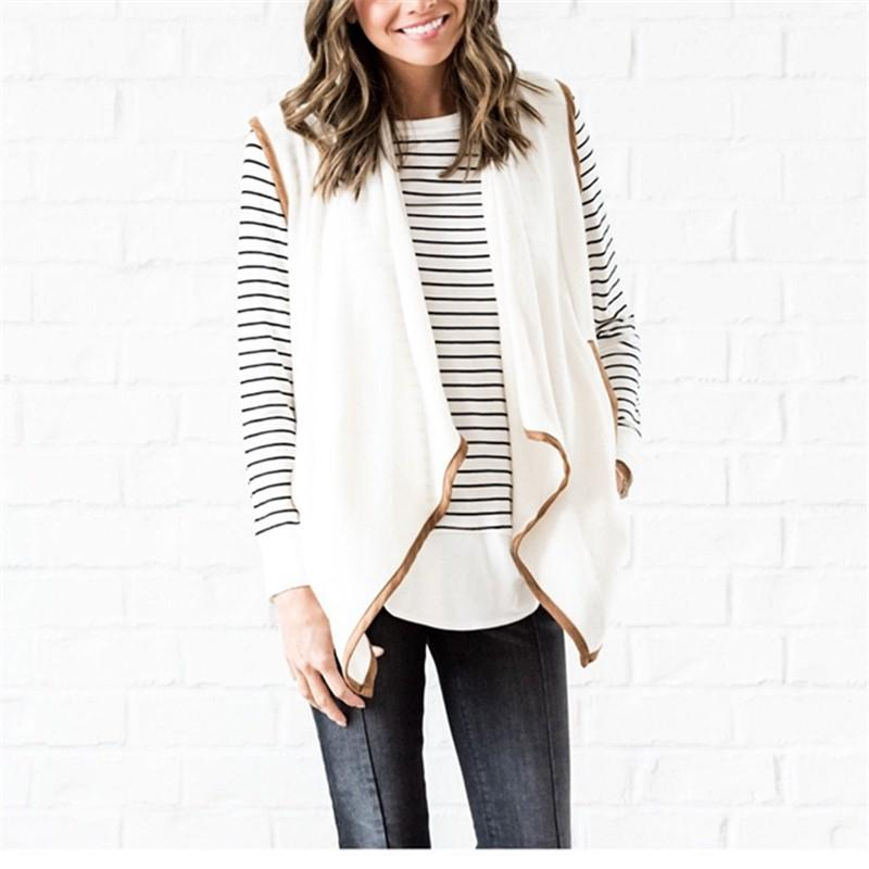 Pure Color Cardigan   Jacket In A Sleeveless Woolen Vest White l