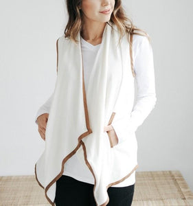 Pure Color Cardigan   Jacket In A Sleeveless Woolen Vest White m