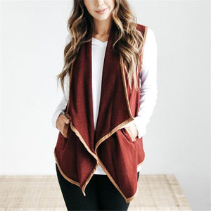 Pure Color Cardigan   Jacket In A Sleeveless Woolen Vest Claret s
