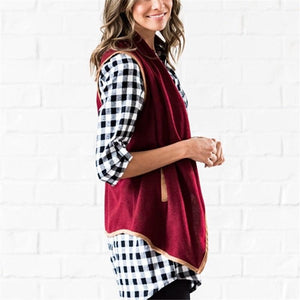 Pure Color Cardigan   Jacket In A Sleeveless Woolen Vest Claret m