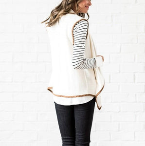 Pure Color Cardigan   Jacket In A Sleeveless Woolen Vest White xl