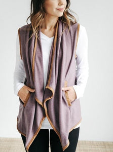 Pure Color Cardigan   Jacket In A Sleeveless Woolen Vest Yellow s