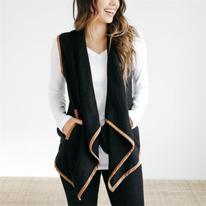 Pure Color Cardigan   Jacket In A Sleeveless Woolen Vest Black s