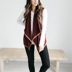Pure Color Cardigan   Jacket In A Sleeveless Woolen Vest Black 2xl