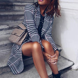 Fashion Plaid Long Woolen Coat Same As Photo l