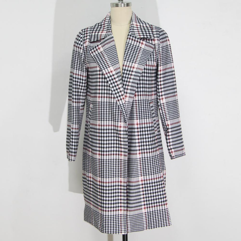 Fashion Plaid Long Woolen Coat Same As Photo xl