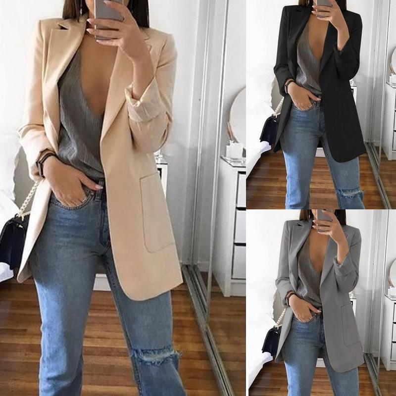 Fashion Solid Color Long-Sleeve Pocket Suit Gray m