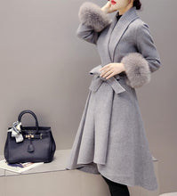 Pure Color Fashionable Copy Fur Fox Hair In Long Wool Overcoat