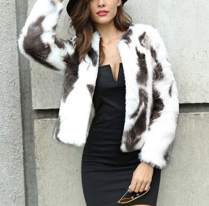 Fashion Copy Fur Long Sleeve Loose Plush Coat Dark Grey xl