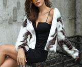 Fashion Copy Fur Long Sleeve Loose Plush Coat Dark Grey m