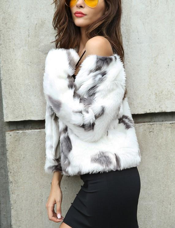 Fashion Copy Fur Long Sleeve Loose Plush Coat Light Gray xl