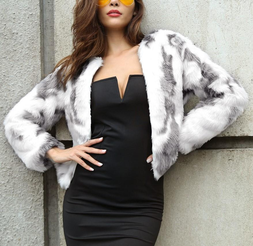 Fashion Copy Fur Long Sleeve Loose Plush Coat Light Gray m