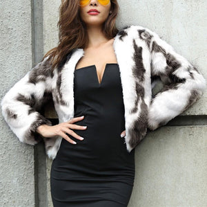 Fashion Copy Fur Long Sleeve Loose Plush Coat Dark Grey l