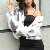 Fashion Copy Fur Long Sleeve Loose Plush Coat Light Gray l