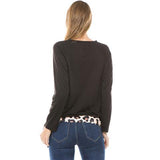 Fashion Round Collar Leopard Printed Blinding  Shirt Black xl