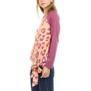 Fashion Round Collar Leopard Printed Blinding  Shirt Purple l