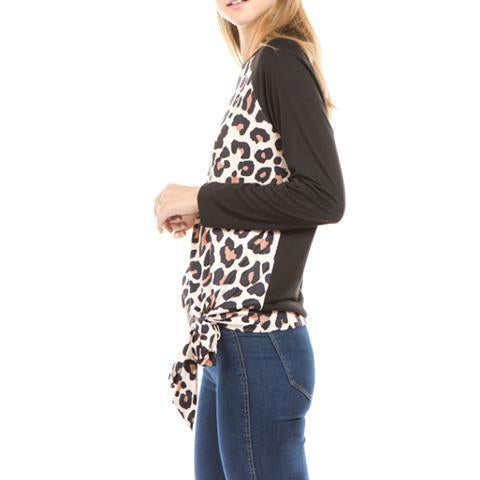 Fashion Round Collar Leopard Printed Blinding  Shirt Purple m