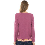 Fashion Round Collar Leopard Printed Blinding  Shirt Purple 2xl