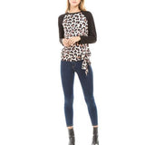 Fashion Round Collar Leopard Printed Blinding  Shirt Black 2xl