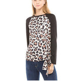 Fashion Round Collar Leopard Printed Blinding  Shirt Purple s