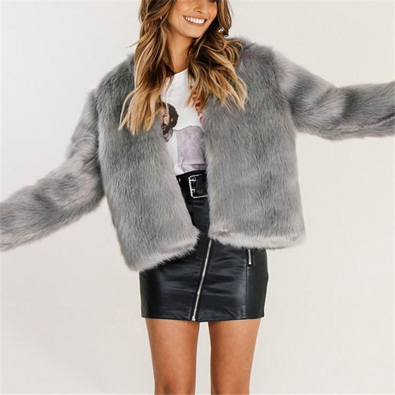 Pure Color Fashionable Imitation Rabbit Fur Loose Coat Gray m